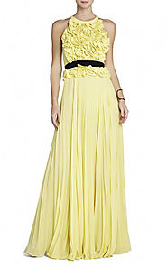 2015 Keyhole Back BCBG Round-Neck Yellow Calida Ruffled Evening Gown