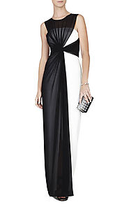 2015 Color-Blocked BCBG Keyhole Black/White Ninah Long Evening Gown [2015 BCBG 0023 Black] - $176.00 : BCBG Dresses O...