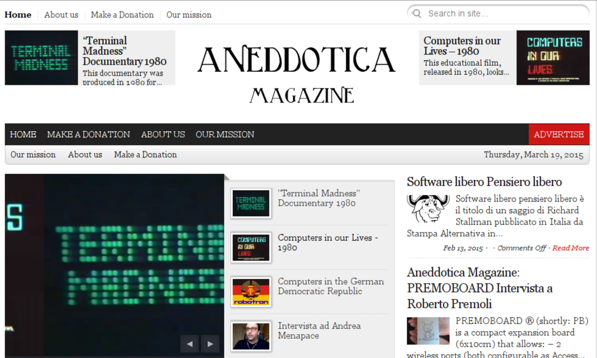 Headline for Aneddotica Magazine