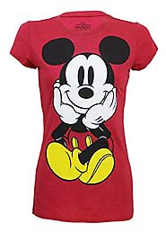 Disney Ladies Mickey Mouse Front & Back Junior Fit Ringer T-Shirt Small Cherry Heather