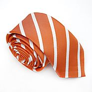 Orange & White Thin Striped Skinny Tes - College Ties