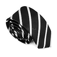 Black & White Thin Striped Skinny Tes - College Ties