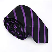 Black & Purple Thin Striped Skinny Tes - College Ties