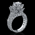 2.08 ctw. Large Hand Engraved Blooming Beauty Wedding Ring Set - bbr434en-set