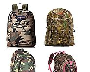 Fun Camo Backpacks for School - Brown, Grey, Green or Pink -