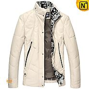 Mens Leather Jacket Down Filled CW846029 - cwmalls.com