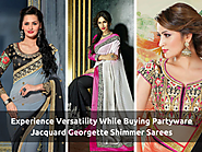 Experience Versatility While Buying Partyware Jacquard Georgette Shimmer Sarees