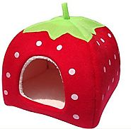 Leegoal Strawberry Small Cotton Soft Pet Bed House