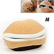 Petforu Hamburger Style Shell Nest Windproof Waterproof Removable Pet Cat Bed House Thermal Hiding (M)