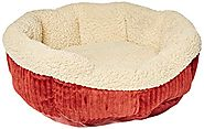 Aspen Pet 80135 Self Warming Cat Bed, 19-Inch, Warm Spice with Creme
