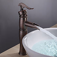 Antique Copper Finish Bathroom Sink Faucet with Vintage Centerset At FaucetsDeal.com