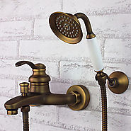 Shower Faucet Antique Brass Wall Mount Handheld At FaucetsDeal.com