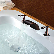 Antique ORB Black Oil-rubbed Bronze Finish waterfall faucet At FaucetsDeal.com