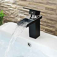 Contemporary Black Painting One Hole Single Handle Waterfall Bathroom Sink Faucet At FaucetsDeal.com