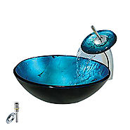 Blue Round Tempered glass Vessel Sink With Waterfall Faucet, Mounting Ring and Water Drain At FaucetsDeal.com
