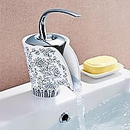 Antique Blue And White Porcelain Waterfall One Hole Single Handle Centerset Bathroom Sink Faucet At FaucetsDeal.com