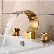 Gold Plated Brass three sets of bathroom sink waterfall faucet At FaucetsDeal.com