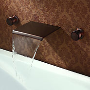 Black bronze ORB wall waterfall bathroom sink faucet At FaucetsDeal.com