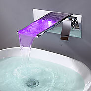 Bathroom Sink Faucet with Color Changing LED Waterfall Faucet (Wall Mount) At FaucetsDeal.com