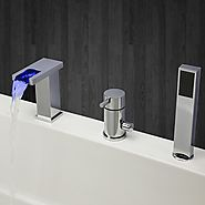 Contemporary Chrome Finish Three Holes Single Handle LED Waterfall Bathtub Faucet with Hand Shower At FaucetsDeal.com