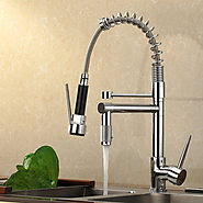 Chrome Finish Pullout Spray High-Pressure Kitchen Faucet At FaucetsDeal.com