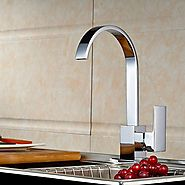 Modern Chromed Copper Waterfall Sink Faucet Water Tap At FaucetsDeal.com