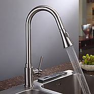 Contemporary Pullout Spray Brass Nickel Brushed Kitchen Faucet At FaucetsDeal.com