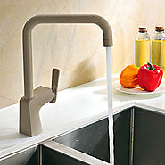Contemporary Painting Finish Brass One Hole Single Handle Rotatable Kitchen Faucet At FaucetsDeal.com