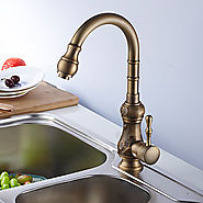 Retro Antique Brass Finish One Hole Single Handle Deck Mounted Kitchen Faucet At FaucetsDeal.com