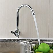Wall Type 360° Rotatable Chrome Plated Brass Kitchen Sink Faucet At FaucetsDeal.com