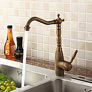One Hole Ceramic Valve Antique Brass Kitchen Faucet At FaucetsDeal.com