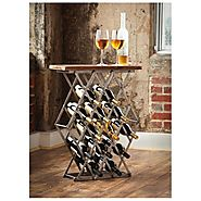 Metal Bottle Rack With Wooden Top