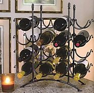 16 Bottle French Country Black Metal Wine Display Rack - Kitchen Things