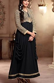 Embroidered Black Anarkali Suit Online India