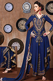 Blue Semi-Stitched Georgette Suit