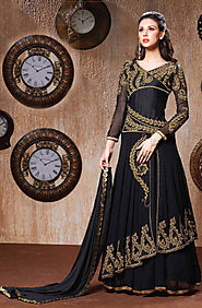Black Georgrette Semi-Stitched Suit