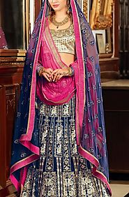 Navy blue embellished lehenga set