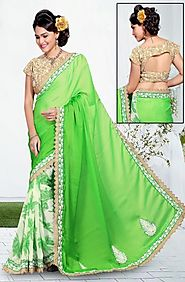White & green embroidered saree -