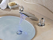LED three sets of waterfall bathroom sink faucet with Chrome Finish At FaucetsDeal.com