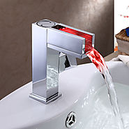 Contemporary LED / Waterfall Brass Chrome Bathroom Sink Faucet At FaucetsDeal.com