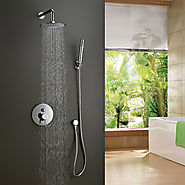 Contemporary Ceramic Valve Shower Faucet with 8 inch Shower Head At FaucetsDeal.com