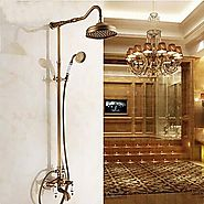 Antique Rain Shower Hand shower Included Brass Shower Faucet At FaucetsDeal.com