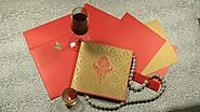 Red color Shimmer Paper Indian wedding card