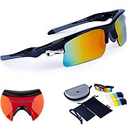 RIVBOS 308 Polarized Sports Sunglasses 5 Set Interchangeable Lenses for Cycling