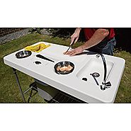 Deluxe Portable Camp Fish Cleaning Folding Table with Faucet Sink , for Camping Fishing Accessories