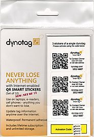 Dynotag® Web/GPS Enabled QR Code Smart Tags - Ready to use, 12 Sticker Set (3 Stickers each of 4 dynotags)