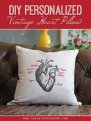 DIY Personalized Vintage Heart Pillow - The Gathered Home