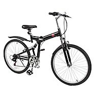 "Best Choice Products® 26"" Folding Mountain Bicycle 6 Speed Shimano Foldable Bike Black Color"