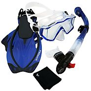 PROMATE Scuba Dive Panoramic PURGE Mask Dry Snorkel Snorkeling Fins Gear Set