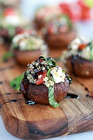 Caprese Quinoa Grilled Stuffed Mushrooms with Balsamic Glaze